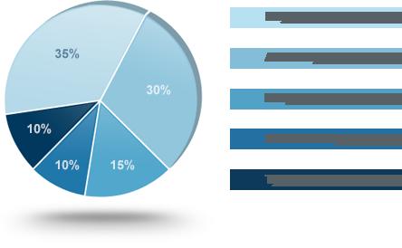 Fico credit score calcuation pie chart.